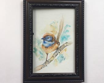 Blue bird Watercolor Painting Print