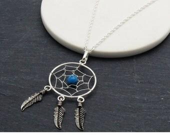Sterling Silver Dreamcatcher Necklace, Native Necklace, Native Dream Catcher, Birthstone Necklace, Silver Dreamcatcher Necklace
