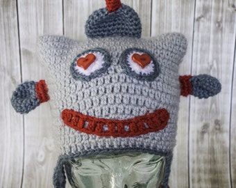 Love Bot Crochet Hat Valentines day hat