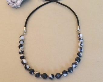 Black White Necklace Stone Necklace Beaded Stone Necklace Beaded Leather Necklace Black Leather Bead Necklace Zebra Stone Necklace Gift Her