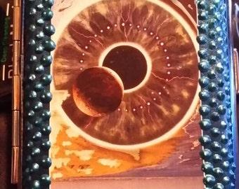 Pink Floyd ID Case. Cigarette Case. Pulse. Wallet. Metallic. Hand painted. Metallic blue.