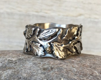 Statement silver and gold oak leaf ring,  Botanical jewellery, Botanical ring, silver oak leaf ring, Silver woodland ring, Rustic ring
