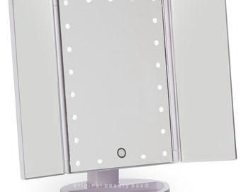 White Three Way Vanity Mirror