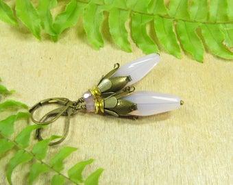 Earrings crocus purple earrings flowers flowers flower earrings Flower Earrings, purple violet, brass bronze vintage, spring summer