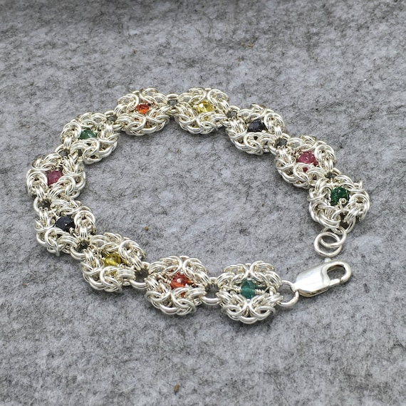 Handcrafted, 925 Sterling Silver Byzantine with Rubies, Emeralds and Sapphires, Hallmarked.