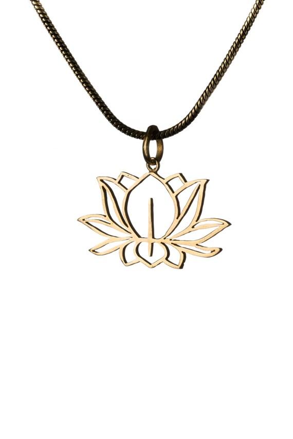 Lotus Flower Brass Pendant Necklace Spiritual jewellery Yogi Jewellery Handmade Free UK delivery SM