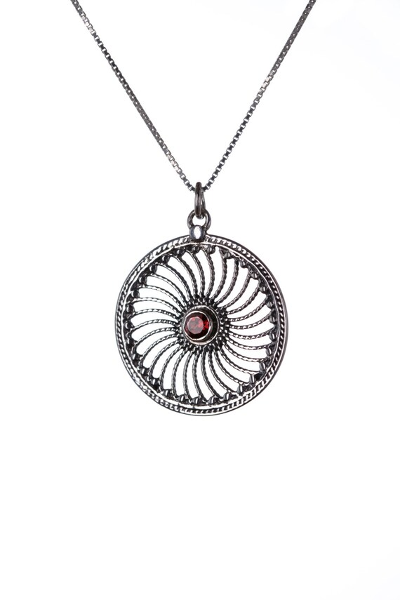 Garnet Gemstone Sterling Silver Mandala Pendant Necklace  Handmade, Tribal Jewellery Gift box, Free UK Delivery