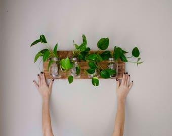 4 Mason Jars Dark Wood Stain Indoor Outdoor Wall Planter Reclaimed Wood Herb Planter Herb planter Hanging Planter Mason Jar