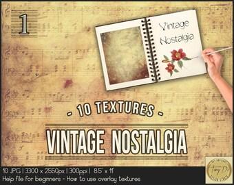 Vintage Nostalgia 1 | Photo Overlay Grunge Textures | Photo retouch tools | Aging Grunge Vintage Photo Effect | Digital papers