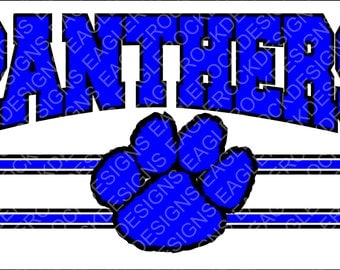 Panthers  Paw  SVG  DXF  EPS  Cut File  Football  Basketball  Baseball  Cheer  Silhouette  Cricut  Vector File  Instant Download