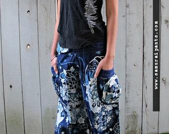 New Indigo Lotus Flower Comfy Pants