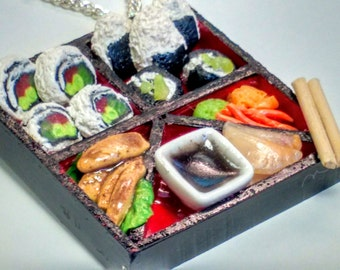 Sushi Bento Box Necklace - Miniature Food Jewelry, Inedible Jewelry, Japanese Food Jewelry, Sushi Jewelry, Kawaii Jewelry, Fake Food Jewelry