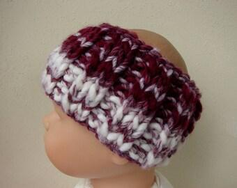 Hand knit child ear warmer dark red white kids head warmer no seams thick yarn warm chunky burgundy head band toddler boy girl warm knit