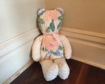 Vintage Chenille Bear/Plush Flower Bear/Handmade Chenille Bear