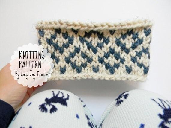 PATTERN: Diamond Headband | Chunky knit fair isle headband design ...