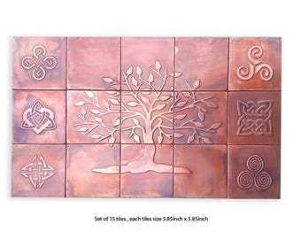 set of 15 tiles for your kitchen backsplash, backsplash tiles, tree of life, celtic symbols
