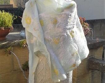 Soft pale green and yellow nuno felt wrap