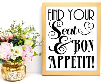 Wedding Seat Assignment, Seat Assignment Sign, Wedding Printable, Find Your Seat, Wedding Sign, Reception Decor, Reception Printable