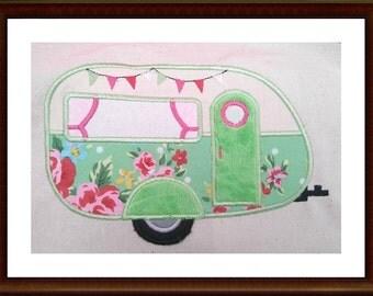 Applique Retro Caravan Machine Embroidery Design Pattern 5x7, 6x10, 8x12 by Titania Creations, Instant Download.