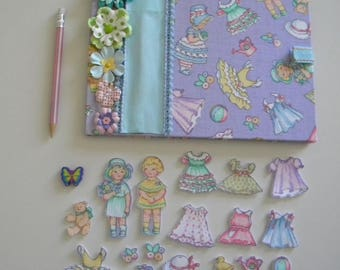 Fabric Covered Sketch Book Activity Book Kids Felted Paper Dolls Busy Book Quiet Book Travel Game Book