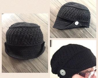 Women's newsboy cap, slouchy newsboy hat, womens slouchy cap, hat with brim, newsboy hat