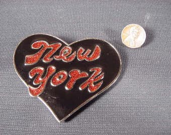 Vintage Old Collectible * Belt Buckle * Heart * New York