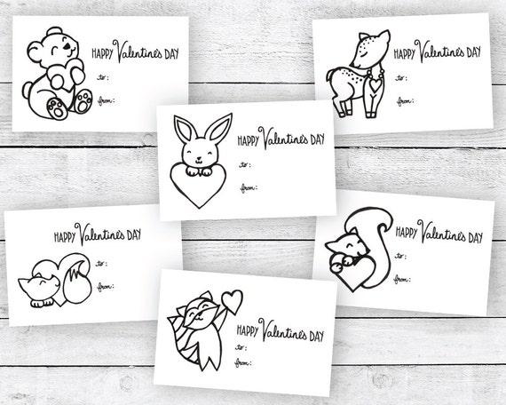 Cute Animals Coloring Valentines
