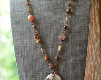 One of a Kind Beaded Necklace (24 in.) lots of Czech beads with a beautiful Round Rock/Family Tree as the center piece.