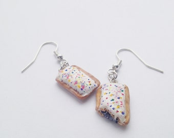 Blueberry POPtart Inspired Polymer Clay Earrings
