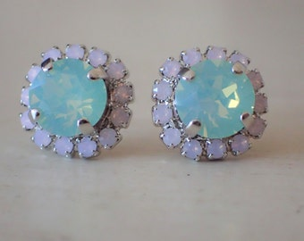 Swarovski Chrysolite and Rose Water Opal Crystal Halo Post Earrings, Silver