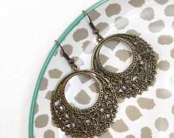 Boho Crescent dangles, Antique bronze, laser-cut, bohemian, earthy, rustic