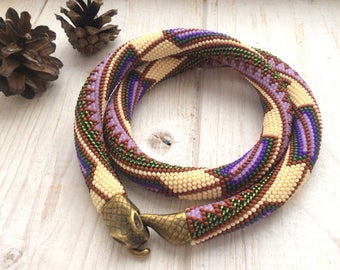 """Short Crocheted Native American Ethnic Boho Seed Bead Rope Necklace """"Feather Snake"""", Tribal Statement Necklace"""