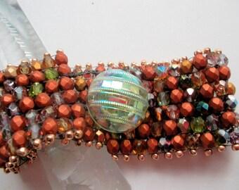 Peyote bracelet beadwoven copper firepolished czech beads green vintage glassbutton Statement bracelet metallic beads gold