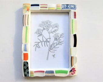 Floral Stripe Mosaic frame. Stripe Mosaic picture frame. Tansy art. Flower mosaic. Pen & ink signed print! Vintage china. Photo frame mosaic