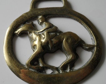Racing 3D Horse & Jockey Rider Rare Vintage Horse Brass