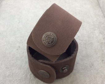 """1.5"""" Wide Chocolate Brown Genuine Leather Blank Cuff Bracelet with Oxidized Brass Snap Clasp - Measuring 38mm Wide x 222mm Long, Approx."""