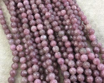 """6mm Glossy Finish Natural Pink/Plum Lepidolite Round/Ball Shaped Beads with 1mm Holes - Sold by 15.25"""" Strands (Approximately 60 Beads)"""