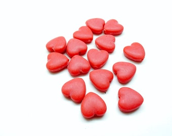 Set of 10 hearts beads, acrylic matte frosted red 13 * 13 * 5mm