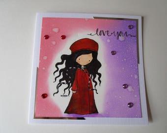 Love you card. Gorjuss card. Girl in a red coat. Dark haired girl card.