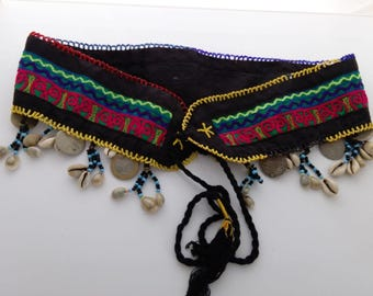 "Kuchi ATS Tribal Belly Dance Ethnic Belt Coins Beads Shells Colorful 33"" Wide"
