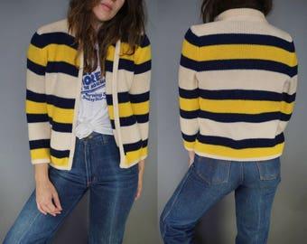 Vtg 60s Chunky Knit Sweater Cardigan Jacket || Striped Nautical Sweater || Poly Acrylic Wool Cardigan Sweater || Cream Navy Yellow || S M
