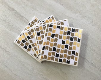 Black and Gold, Black Coasters, Gold  Coasters, Geometric Coasters, Tile Coasters, Ceramic Coasters, Mod Coasters, Coasters, Coaster Set