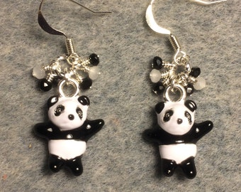 Black and white enamel panda bear charm earrings adorned with tiny dangling black and white Chinese crystal beads.