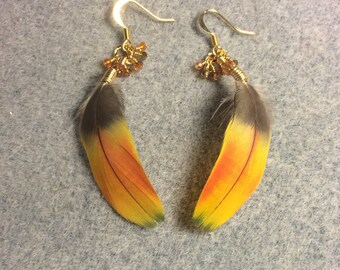 Gold orange macaw feather earrings adorned with tiny dangling orange and amber Chinese crystal beads.