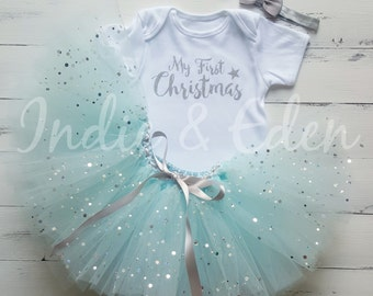 Baby 1st Christmas First Tutu girls fancy dress costume babysuit birthday glitter blue set photo prop cake smash