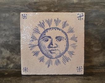 "Handmade stoneware tile ""sol"""
