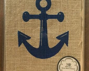 Navy Blue Anchor Print on Burlap