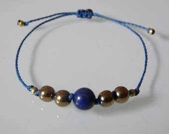 """Insight and clarity of mind"" Beads Bracelet, lapis lazuli, Pyrite, Meditation, Yoga, Zen, minimalist, Chakra, Lithotherapy"