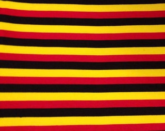 "Knit Mickey 1/2"" Stripes - Yellow, Red and Black Fabric 1 yard"