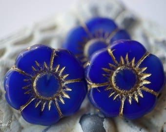Royally Blue, Flower Beads, Czech Beads, Beads, N2120